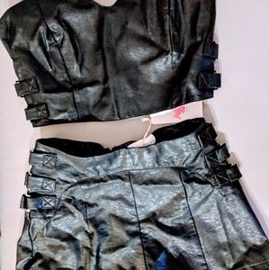 Two piece faux leather set